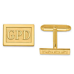 Raised Block Initial Inlay Rectangle Cufflinks
