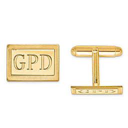 Recessed Initial Inlay Rectangle Cufflinks