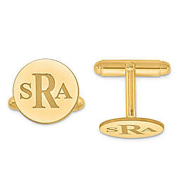 Recessed Block Initial Round Cufflinks
