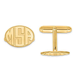 Raised Curved Initial Oval Cufflinks