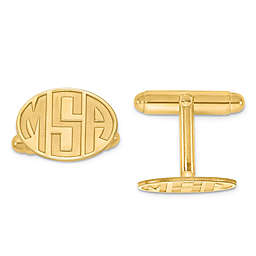 Recessed Block Initial Oval Cufflinks