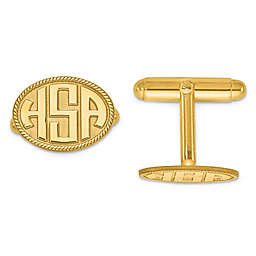 Twisted Border Oval Initial Cufflinks
