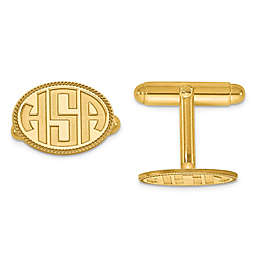 Twisted Border Recessed Block Initial Oval Cufflinks