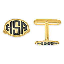 Enamel Twisted Border Block Initial Oval Cufflinks