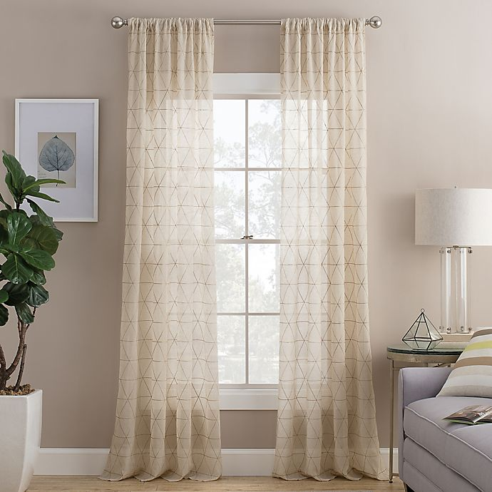 Cambria Prism Rod Pocket Sheer Window Curtain Panel In Natural