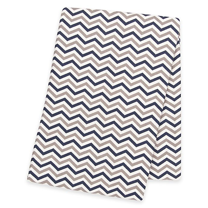 Alternate image 1 for Trend Lab® Chevron Deluxe Flannel Swaddle Blanket in Navy/Grey