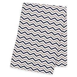 Trend Lab® Chevron Deluxe Flannel Swaddle Blanket in Navy/Grey