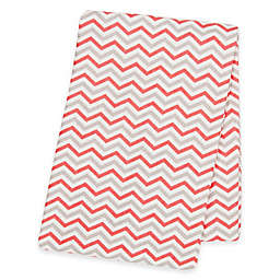 Trend Lab® Chevron Deluxe Flannel Swaddle Blanket in Coral/Grey