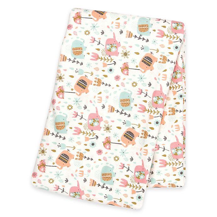 Alternate image 1 for Trend Lab® Playful Elephants Deluxe Flannel Swaddle Blanket