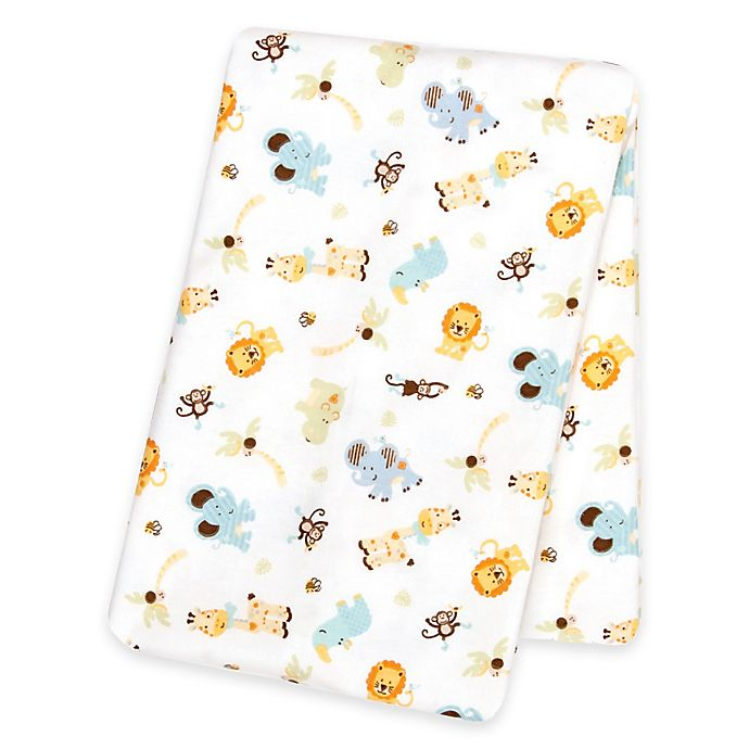 Alternate image 1 for Trend Lab® Jungle Friends Deluxe Flannel Swaddle Blanket