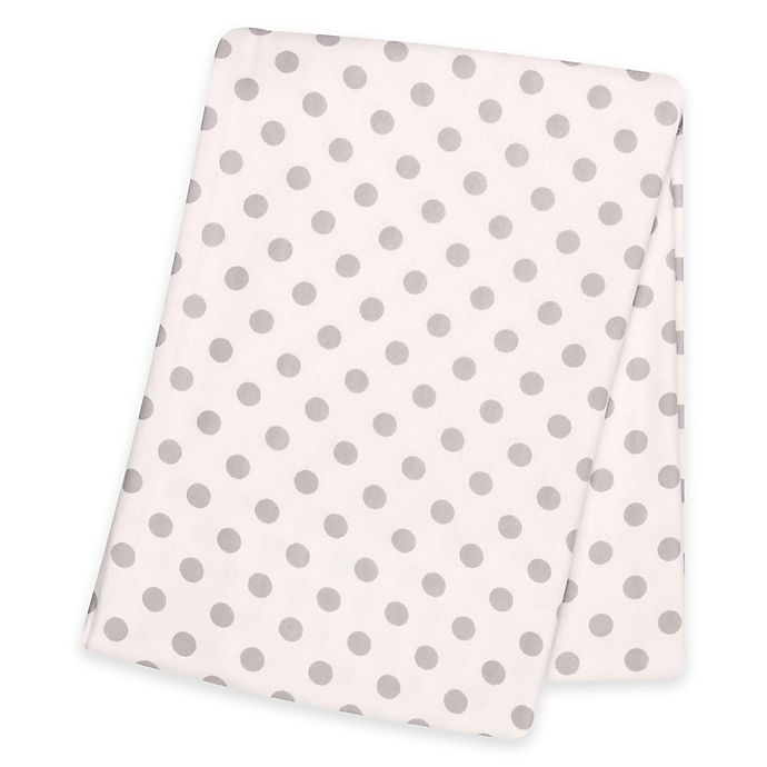 Alternate image 1 for Trend Lab® Polka Dot Deluxe Flannel Swaddle Blanket in Grey
