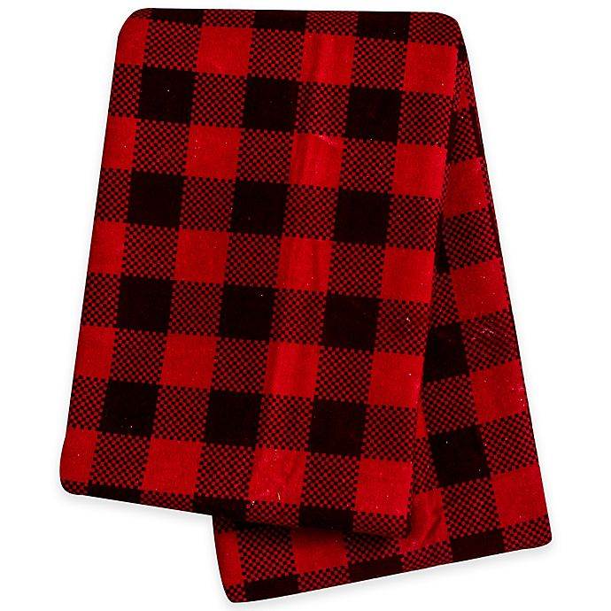 Alternate image 1 for Trend Lab® Buffalo Check Deluxe Flannel Swaddle Blanket in Brown/Red