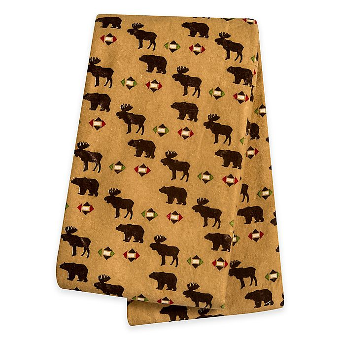 Alternate image 1 for Trend Lab® Northwoods Bear and Moose Deluxe Flannel Swaddle Blanket