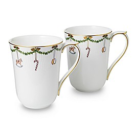 Royal Copenhagen Star Fluted Christmas Mugs (Set of 2)