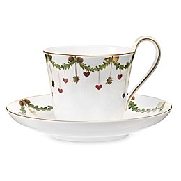 Royal Copenhagen Star Fluted Christmas High Handle Cup and Saucer