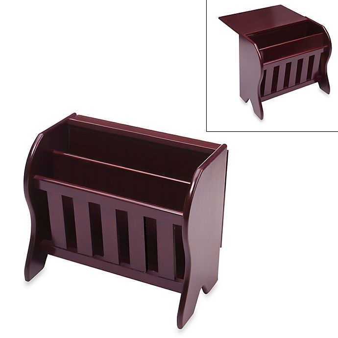 Alternate image 1 for Farmhouse Magazine Rack with Drop Leaf Top in Espresso