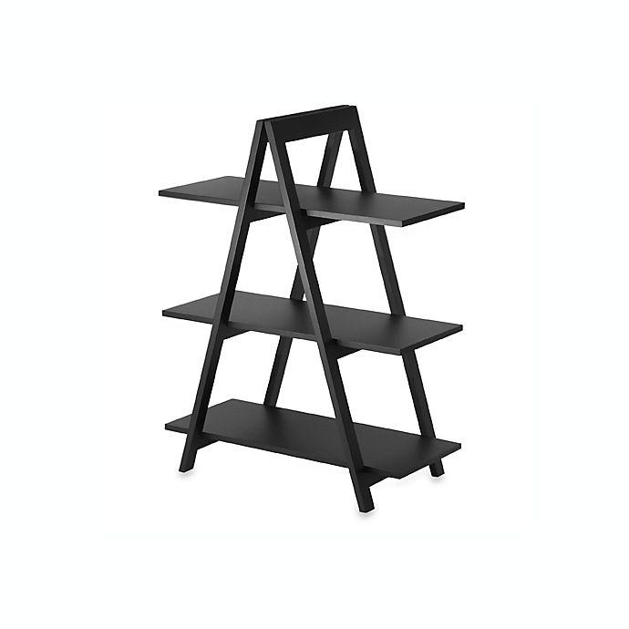 Alternate image 1 for Black Three-Shelf A-Frame Bookcase