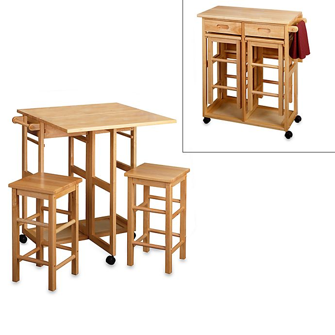 Alternate image 1 for Natural Breakfast Bar with Two Stools