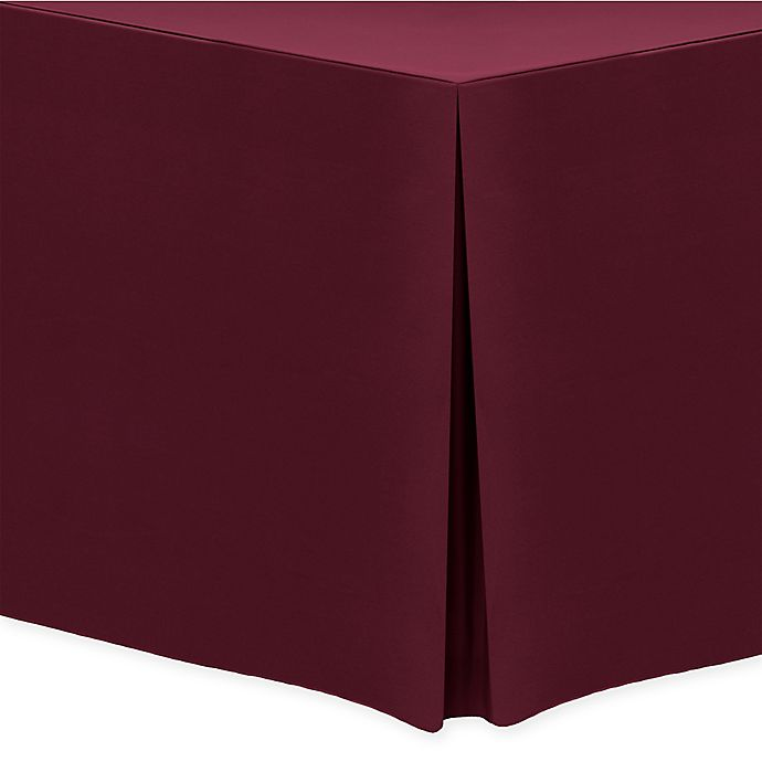 Alternate image 1 for Basic Polyester Indoor/Outdoor 6-Foot Fitted Tablecloth in Ruby