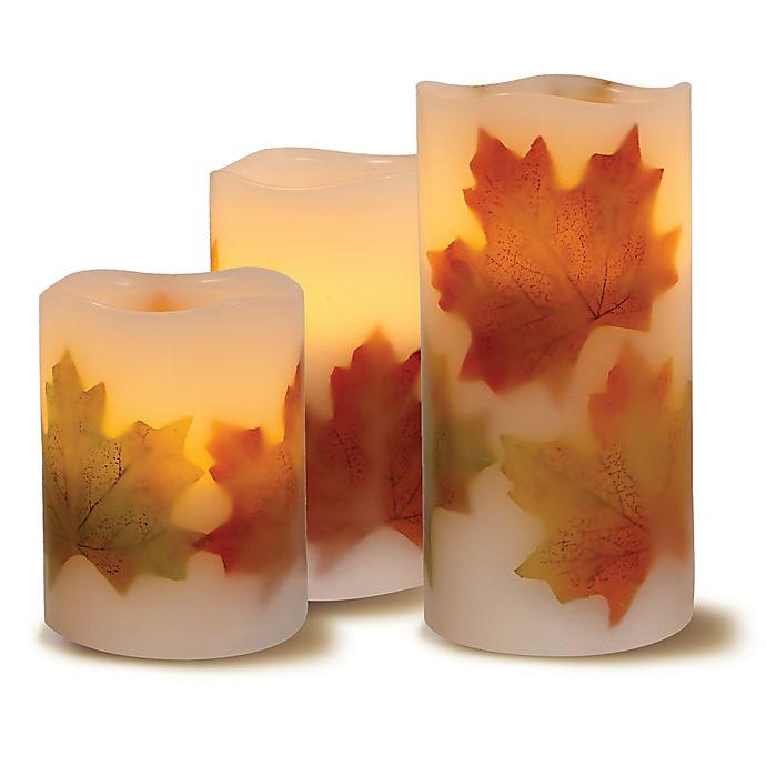 Loft Living 3 Piece Flameless Led Harvest Pillar Candle
