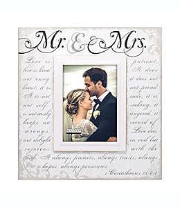 """Portarretratos con marco de madera Malden® """"Mr & Mrs"""" color blanco"""