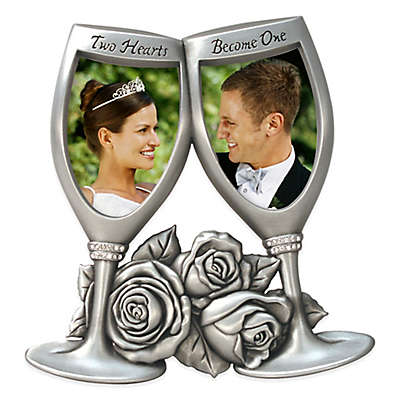 """Malden® 2-Photo 2-Inch x 3-Inch """"Two Hearts Become One"""" Champagne Glasses Frame in Silver"""
