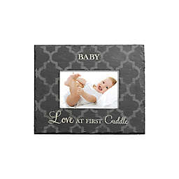 """Grassland Roads 4-Inch x 6-Inch """"Baby, Love at First Cuddle"""" Slate Frame in Black"""
