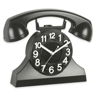 Cupecoy Design Phone Wall Clock In Black Bed Bath Amp Beyond