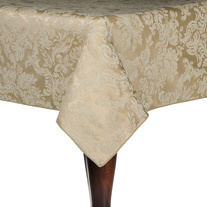 Alternate image 1 for Miranda Damask 54-Inch Square Tablecloth in Champagne