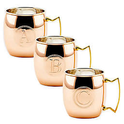 Old Dutch International Solid Copper Monogram Block Letter Moscow Mule Mugs (Set of 4)