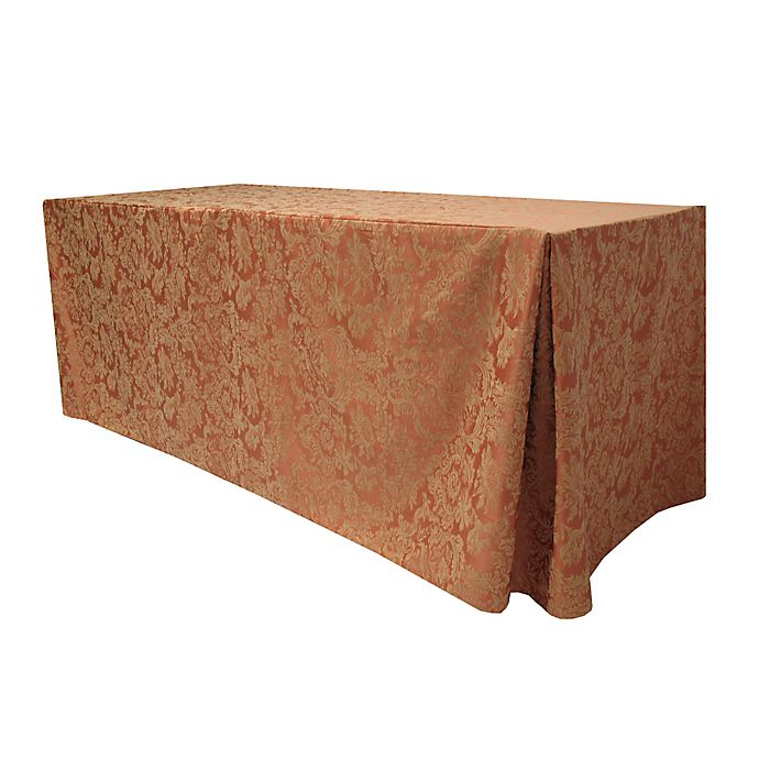 Alternate image 1 for Miranda Damask 30-Inch x 72-Inch Oblong Fitted Tablecloth in Sienna