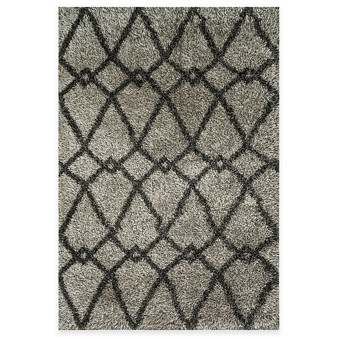 Alternate image 1 for Loloi Rugs Cosma Arrow 3-Foot 9-Inch x 5-Foot 6-Inch Shag Rug in Grey/Charcoal