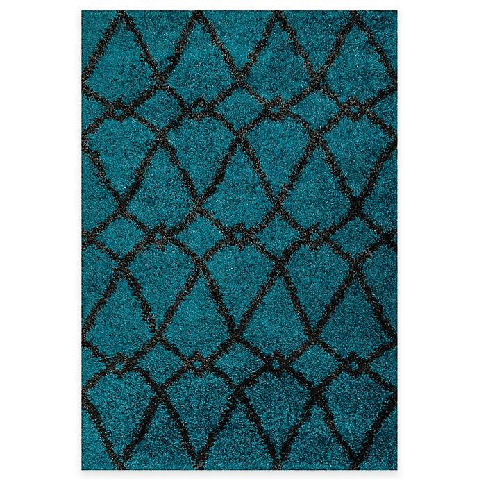 Alternate image 1 for Loloi Rugs Cosma Arrow 7-Foot 7-Inch x 10-Foot 5-Inch Shag Rug in Blue/Charcoal