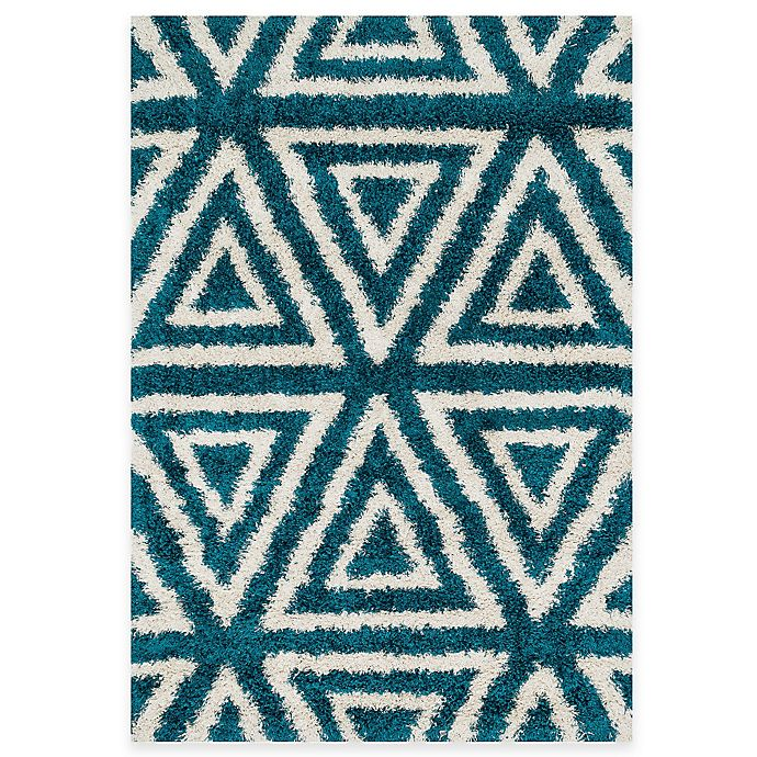 Alternate image 1 for Loloi Rugs Cosma Angles 7-Foot 7-Inch x 10-Foot 5-Inch Shag Rug Blue/Ivory
