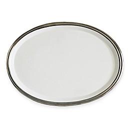 Baum 10-Inch Oval Ceramic Platter in White/Silver