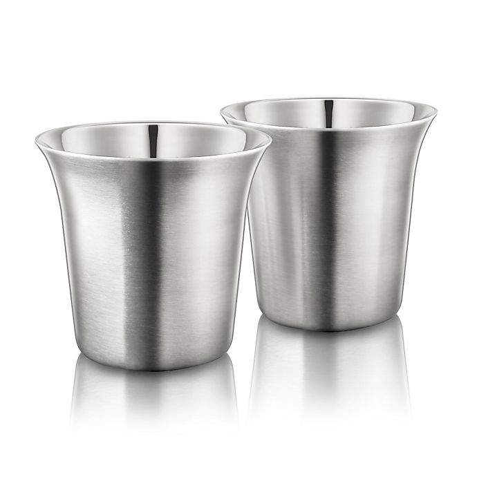 Alternate image 1 for Final Touch® Double-Wall Espresso Cup in Stainless Steel (Set of 2)