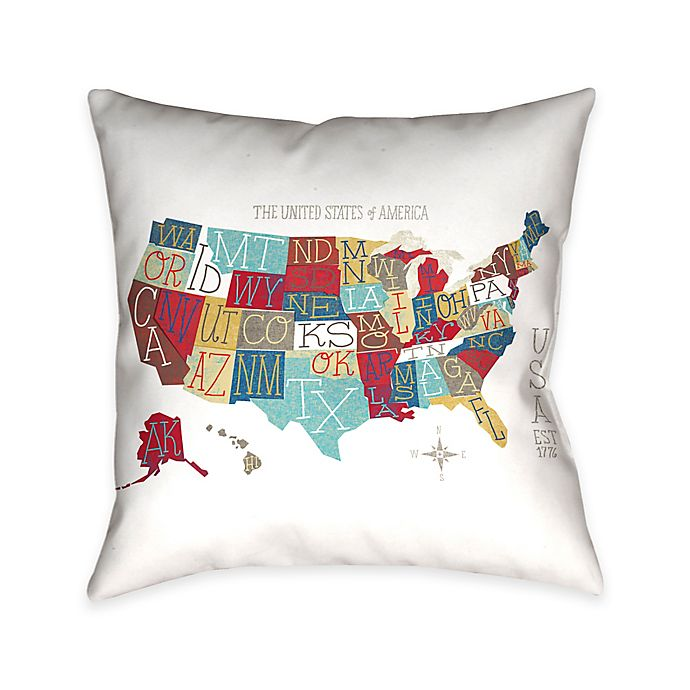 Alternate image 1 for Laural Home Colorful USA Map Throw Pillow