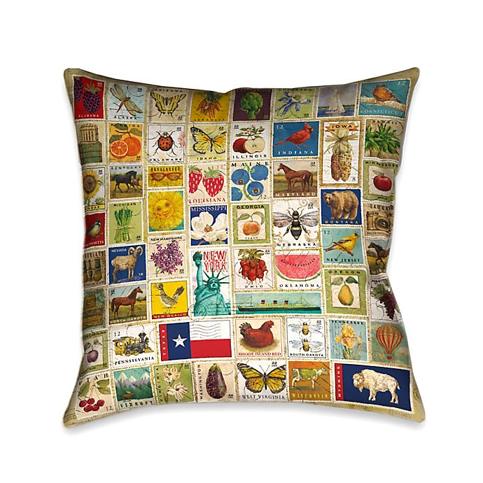Alternate image 1 for Laural Home Vintage Stamps Throw Pillow