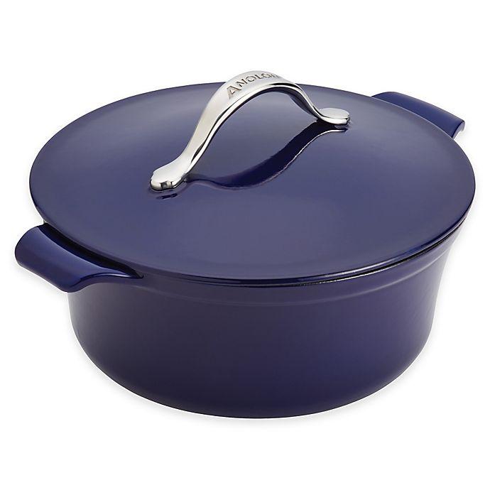 Alternate image 1 for Anolon® Vesta™ 5 qt. Round Cast Iron Covered Casserole in Cobalt Blue