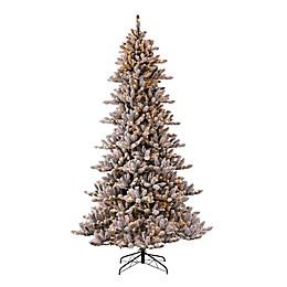 Glitzhome® 9-Foot Artificial Flocked Fir Pre-Lit Christmas Tree in Green
