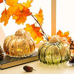 Glitzhome® 4.72-Inch Crackle Glass Pumpkin Decoration (Set of 2)
