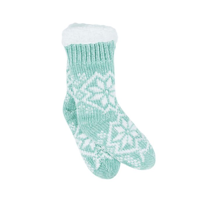 Alternate image 1 for Bee & Willow™ Home Snowflake Lounge Socks in Green