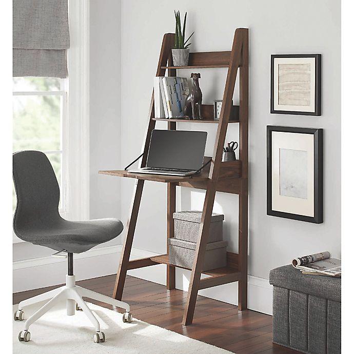 Alternate image 1 for Contemporary 3-Shelf Ladder Desk in Canyon Walnut
