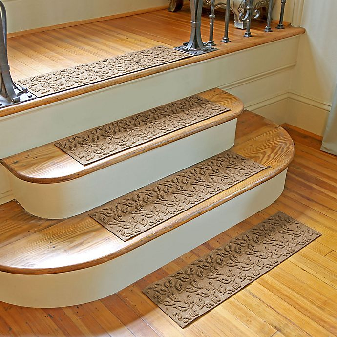 Alternate image 1 for Weather Guard™ Dogwood Leaf Stair Treads in Camel (Set of 2)