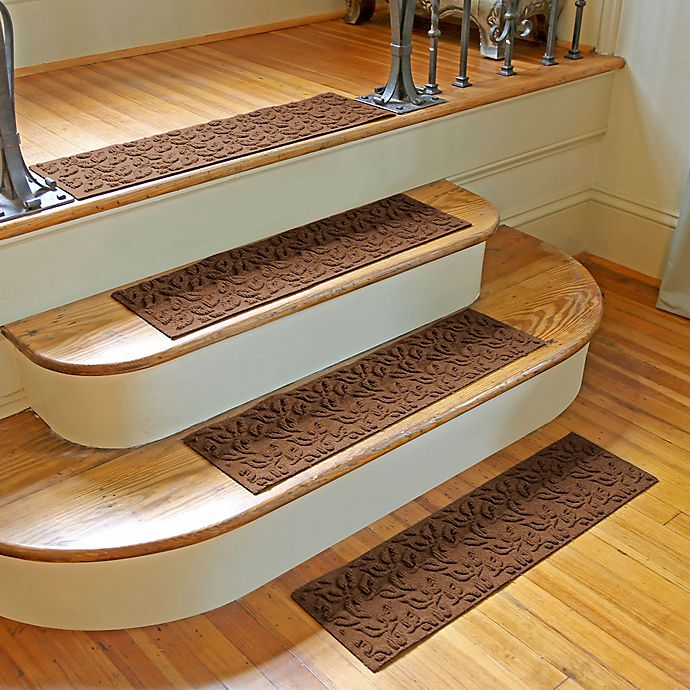 Alternate image 1 for Weather Guard™ Dogwood Leaf Stair Treads in Dark Brown (Set of 2)