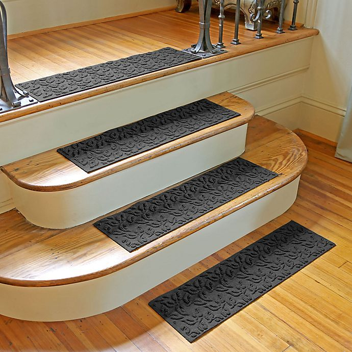 Alternate image 1 for Weather Guard™ Dogwood Leaf Stair Treads in Charcoal (Set of 2)