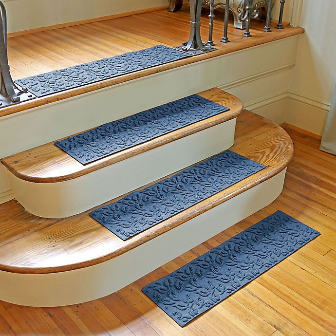Alternate image 1 for Weather Guard™ Dogwood Leaf Stair Treads in Medium Blue (Set of 2)