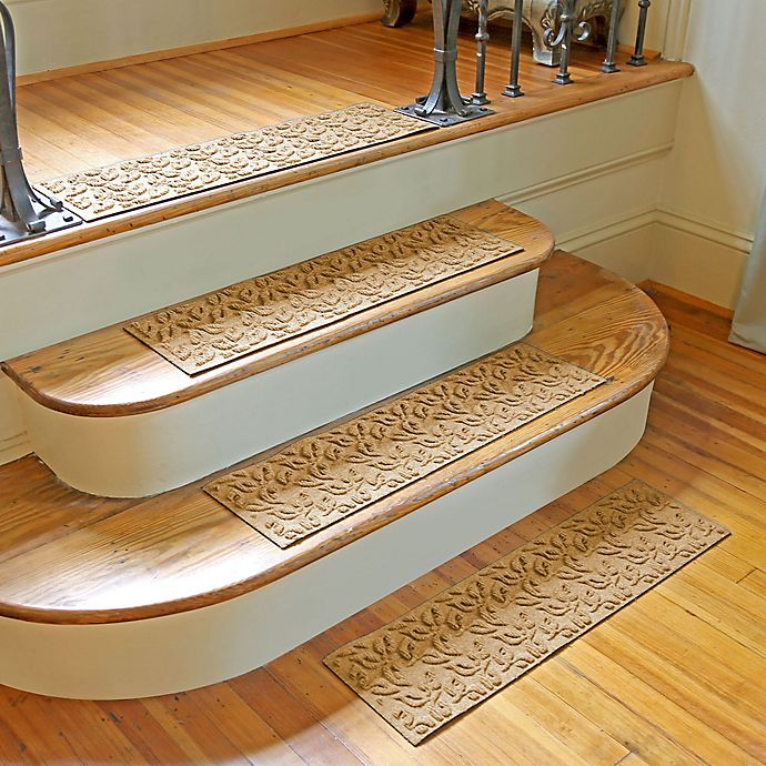 Alternate image 1 for Weather Guard™ Dogwood Leaf Stair Treads in Gold (Set of 2)