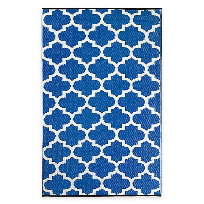 Alternate image 1 for Fab Habitat Tangier Trellis 3-Foot x 5-Foot Indoor/Outdoor Rug in Regatta Blue & White