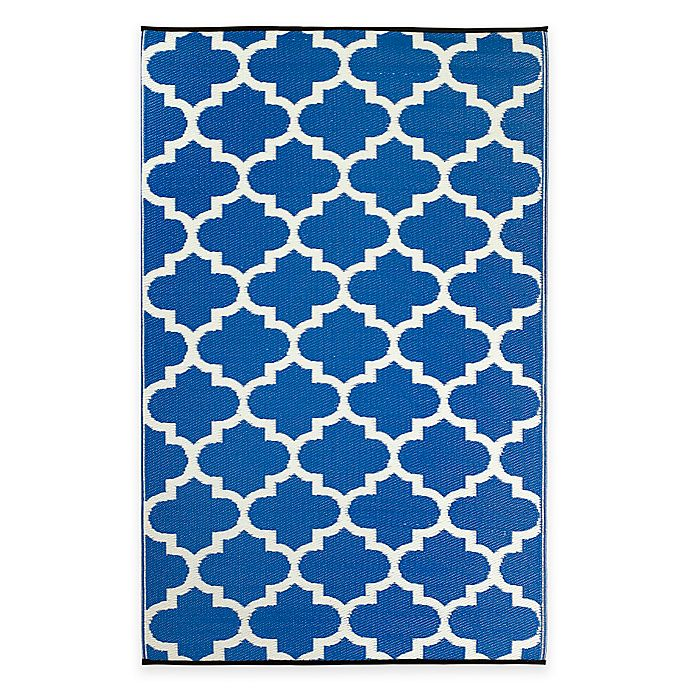 Alternate image 1 for Fab Habitat Tangier Trellis 4-Foot x 6-Foot Indoor/Outdoor Rug in Regatta Blue & White